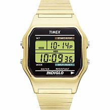Timex Men's Goldtone Square Dial Digital Expansion Band Watch