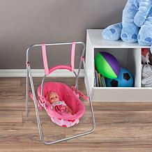 """Toy Time 2-in-1 Baby Doll Swing and Carrier Toy for 13"""" Dolls"""
