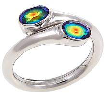 "Traveler's Journey ""Bendy"" Rainbow Quartz Doublet  Bypass Ring"