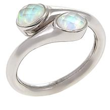 "Traveler's Journey ""Bendy"" Simulated Opal-Quartz Doublet  Bypass Ring"