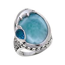 Traveler's Journey Blue Larimar and Quartz Dolphin Ring