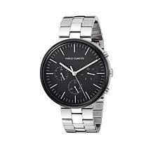 Vince Camuto Men's Multi-Function Dial Black and Silvertone Watch
