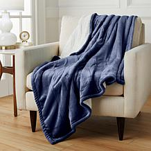 Warm & Cozy Plush Velour Heated Throw with Sherpa Reverse