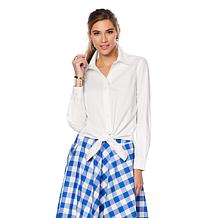 Wendy Williams Tie-Front Button-Up Blouse
