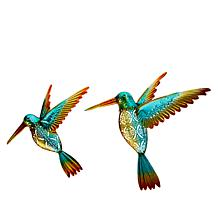 Wind and Weather Set of 2 Hummingbirds Metal Wall Art