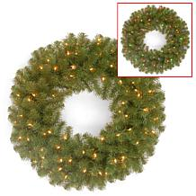 "Winter Lane 24"" Battery-Operated North Valley Wreath"
