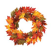 "Winter Lane 24"" Maple Leaf Wreath"