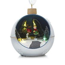 Winter Lane Moving Lighted Ornament - Silver