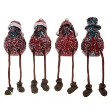 Winter Lane Set of 4 Holiday Cardinal Shelf Sitters with Holiday Hats