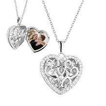 """With You Lockets™ Sterling Silver """"Mary"""" White Topaz Heart Locket"""