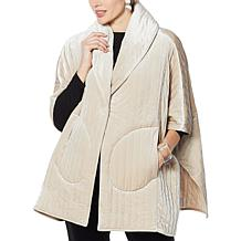 WynneLayers Velvet Quilted Poncho Jacket