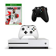 "Xbox One S 1TB 4K Game Console with ""NBA 2K18"" Game and Controller"