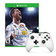 Xbox One White Wireless Controller with FIFA 18 Game