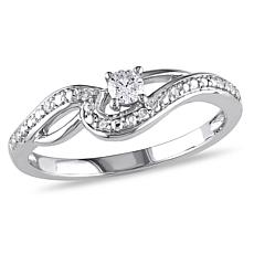0.14ctw  White Diamond 10K White Gold Bypass Ring