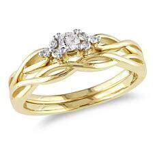 0.16ctw Diamond Braided 10K Yellow Gold 2-Ring Set