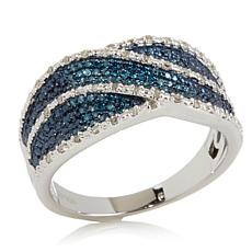 "0.19ctw Blue & White Diamond ""Ribbon"" Ring"
