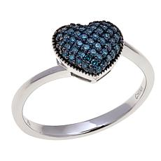 0.2ctw Blue Diamond Pavé Heart Sterling Silver Ring