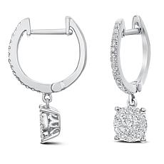 0.35ctw Diamond 14K Gold Hoop Dangle Earrings