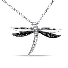 .03ctw Dragonfly Pendant with Sterling Silver Chain