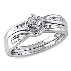 0.3ctw Engagement Ring and Wedding Band 10K Gold 2pc Se