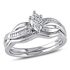 0.49ctw Engagement Ring and Wedding Band 14K Gold Set