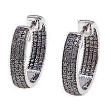 0.50ct Pavé-Set Colored Diamond Hoop Earrings