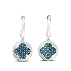 0.5ctw Colored Diamond Clover Drop Sterling Silver Earrings