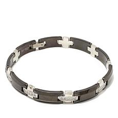 0.5ctw Diamond-Accent Men's 2-Tone Cross-Design Bracelet