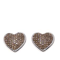 0.72ctw Colored Diamond Heart Stud Earrings
