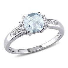 0.9ctw Aquamarine and White Diamond 10K White Gold Ring