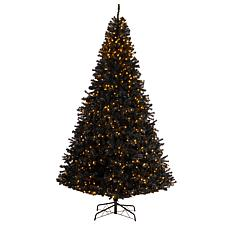 10' Black  Christmas Tree with 950 Clear LED Lights