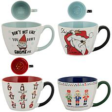 10 Strawberry Street Christmas XL Mugs, Assorted Set of 4