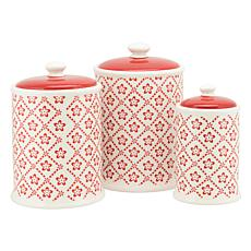 10 Strawberry Street Diamond Flower 3-piece Canister Set - Turquoise