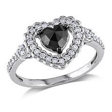 1.01ctw Black & White Diamond Heart 10K White Gold Ring