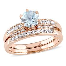 1.09ctw Aquamarine and Diamond 10K 2pc Ring Set