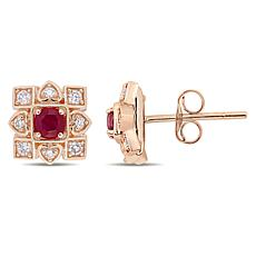 10K Diamond and Ruby Stud Earrings