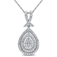 10K Diamond Halo Pendant