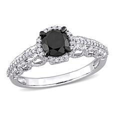 10K Gold 1.14ctw Black and White Diamond Halo Filigree Engagement Ring
