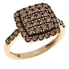 10K Gold 1ctw Champagne Diamond Pavé Ring