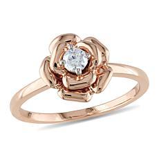 10K Rose Gold 0.14ctw White Diamond Rose-Design Ring