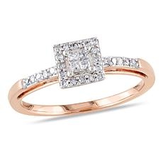 10K Rose Gold 0.19ctw White Diamond Engagement Ring