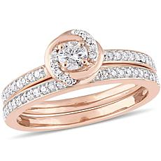 10K Rose Gold 0.50ctw Diamond Bridal Set Ring