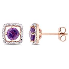 10K Rose Gold .87ctw Amethyst and Diamond Stud Earrings