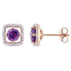10K Rose Gold .87ctw Amethyst and Diamond Stud Earrings