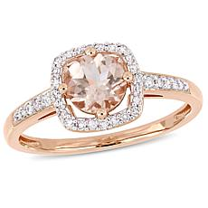 10K Rose Gold .99ctw Morganite and Diamond Halo Ring