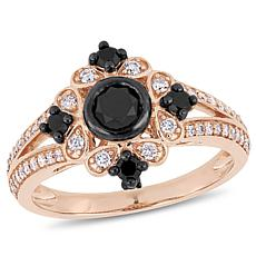 10K Rose Gold Black and White Diamond Clustered Ring