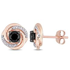 10K Rose Gold Black and White Diamond Swirl Stud Earrings