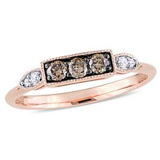 10K Rose Gold Dark Brown and White Diamond Ring