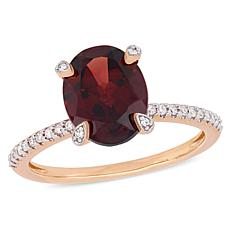 10K Rose Gold Diamond-Accented Garnet Engagement Ring