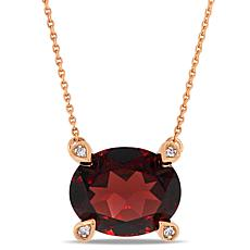 10K Rose Gold Diamond-Accented Oval Garnet Necklace